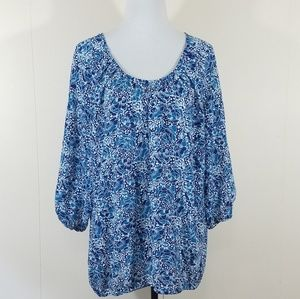 Blue floral long sleeve peasant top Size XL. NWT